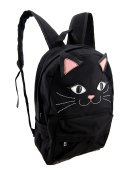 Black Kitty Cat Face Canvas Backpack