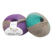 HUHU833 1pc 50g Chunky Hand-woven Rainbow Colourful Knitting Scores Wool Blend Yarn