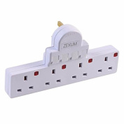 Zexum 6801 4G 13 A Individually Switched Surge Protection Extension Socket, White