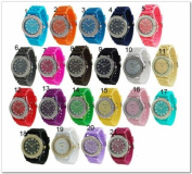 Geneva 12 Assorted Crystal Rhinestone Women Watch Large Face Silicone Jelly Link Band