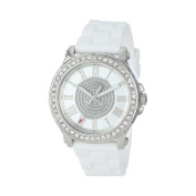 Juicy Couture Pedigree Silver Dial White Silicone Strap Ladies Watch 1901050