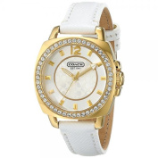 Coach Mini Boyfriend White Leather Strap Crystal Glitz Womens Watch 14501790
