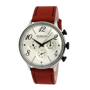 TOURBILLION WATCH COMPANY RETRO COLLECTION WATCH SILVER CASE SILVER DIAL WITH NUMBER & INDEX AND RED/BROWN GENUINE LEATHER STRAP