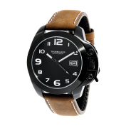 TOURBILLION WATCH COMPANY MODERN COLLECTION WATCH IP BLACK CASE BLACK DIAL WITH WHITE ARABIC NUMBERS WITH CROWN SAFTY LOCK AND BROWN GENUINE LEATHER STRAP
