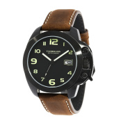 TOURBILLION WATCH COMPANY MODERN COLLECTION WATCH IP BLACK CASE BLACK DIAL WITH GREEN ARABIC NUMBERS WITH CROWN SAFTY LOCK AND BROWN GENUINE LEATHER STRAP