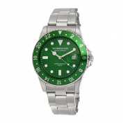 TOURBILLION WATCH COMPANY VINTAGE COLLECTION WATCH SILVER CASE GREEN DIAL WITH INDEX AND GREEN aluminium BEZEL WITH STAINLESS STEEL EXPANDABLE STRAP