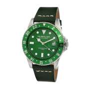 TOURBILLION WATCH COMPANY VINTAGE COLLECTION WATCH SILVER CASE GREEN DIAL WITH INDEX AND GREEN aluminium BEZEL WITH GREEN GENUINE LEATHER STRAP