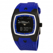 Nixon A115576 Men's Super Hero TI PU II Black Ana-Digi Dial Blue Rubber Strap Alarm Chronograph Watch