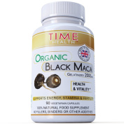 Black Maca Root 2000mg Capsules Gelatinized Certified Organic from the High Andes of Peru - UK Manufactured