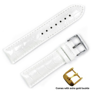 deBeer brand Crocodile Grain Watch Band (Silver & Gold Buckle) - White 20mm