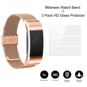 Replacement Milanses watch band & 3 Pack High Definition Screen Protecter for Fitbit Charge 2