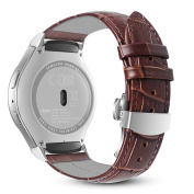 Gear S2 Watch Band, Fintie Genuine Leather Soft Replacement Sport Strap Wrist Bands Buckle SM-R720 / SM-R730, Brown