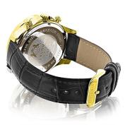 Luxurman Mens Diamond Watch 0.2ct Black MOP Liberty 18k Yellow Gold Plated Swiss Movement w Leather Band
