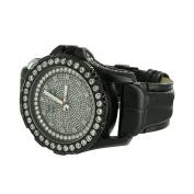 Black Finish Mens Watch Khronos Black Leather Band Joe Rodeo Jojo Design Real Diamonds