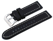 REV #ITAL264-1 Panerai Style 24mm Lug Width Black Thick Genuine Leather Replacement Band