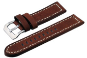 REV #ITAL264-3 Panerai Style 24mm Lug Width Brown Thick Genuine Leather Replacement Band