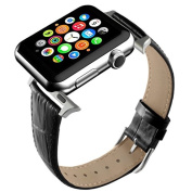 Apple Watch Band, Black Replacement Genuine Leather Strap for iWatch 20mm with Adaper