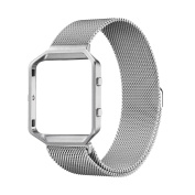 Greatfine Blaze Stainless Steel Strap, Milanese Loop Watch Band Replacement Bracelet Straps With Metal Frame for Fitbit Blaze