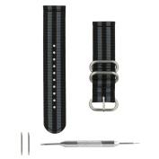 Benchmark Straps 20mm Black & Grey Striped Ballistic Nylon 2-Piece Zulu Watchband + Spring Bar Removal Tool