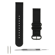 Benchmark Straps 22mm Black Ballistic Nylon with PVD Hardware 2-Piece Zulu Watchband + Spring Bar Removal Tool