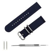 Benchmark Straps 20mm Navy Blue Ballistic Nylon 2-Piece Zulu Watchband + Spring Bar Removal Tool