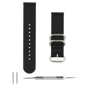 Benchmark Straps 20mm Black Nylon 2-Piece Zulu Watchband + Spring Bar Removal Tool