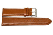 24MM BROWN PADDED STITCHED GENUINE LEATHER STRAP WATCH BAND