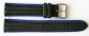 20MM BLACK BLUE GENUINE LEATHER CARBON fibre WATCH BAND STRAP
