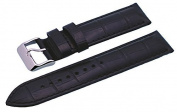Rev #ITAL331 24mm Black Patterned Padded Genuine Leather Replacement Strap