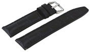 Rev #ITAL181-120 Men's 20mm Genuine Black Leather Quick Release Spring Bar Replacement Band