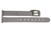 STAINLESS STEEL 12-16MM SILVER MESH VINTAGE BUCKLE WATCH BAND STRAP