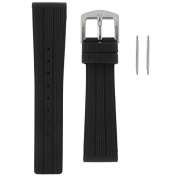 Black Silicon Rubber Waterproof Replacement Band 22mm Steel Buckle + 2 FREE Watch Spring Bars