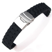 20mm Waterproof Soft Silicone Watch Band Strap with Stainless Steel Clasp Buckle