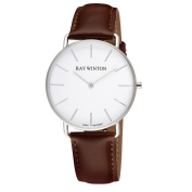 Ray Winton Men's WI0063 Slim Analogue White Dial Dark Genuine Brown Leather Watch