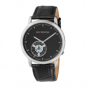 Ray Winton Men's WI0052 Analogue Black Dial Black Leather Watch