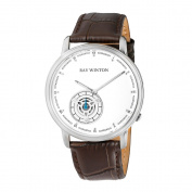 Ray Winton Men's WI0051 Analogue White Dial Geniune Brown Leather Strap Watch
