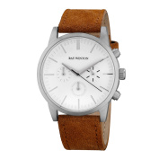 Ray Winton Men's WI1202 Chronograph White Dial Light Brown Suede Leather Watch