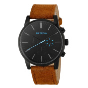Ray Winton Men's WI1201 Chronograph Black Dial Light Brown Suede Leather Watch