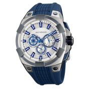 Ray Winton Men's WI0502 Multi-Function Silver Dial Blue Stainless Steel, Silicone Watch