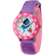 Disney Finding Dory, Nemo and Dory Girls' Stainless Steel Time Teacher Watch, Pink Bezel, Purple Hook and Loop Nylon Strap with Pink Backing