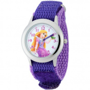 Disney Rapunzel Girls' Stainless Steel Case Watch, Purple Nylon Strap