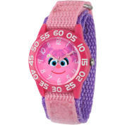 Sesame Street Abby Cadabby Girls' Pink Plastic Time Teacher Watch, Pink Hook and Loop Nylon Strap with Purple Backing