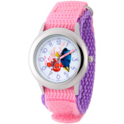 Disney Finding Dory, Nemo and Dory Girls' Stainless Steel Time Teacher Watch, Pink Hook and Loop Nylon Strap with Purple Backing