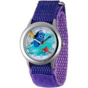 Disney Finding Dory, Nemo and Dory Girls' Stainless Steel Time Teacher Watch, Purple Hook and Loop Nylon Strap