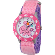 Sesame Street Elmo Girls' Stainless Steel Time Teacher Watch, Pink Bezel, Pink Hook and Loop Nylon Strap with Purple Backing