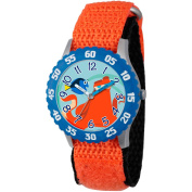 Disney Finding Dory, Hank and Dory Boys' Stainless Steel Time Teacher Watch, Blue Bezel, Orange Hook and Loop Nylon Strap with Black Backing