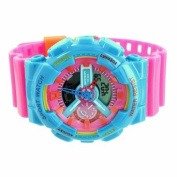 Shock Resistant Sport Watch Pink Baby Blue Unisex Analogue-Digital Limited Edition