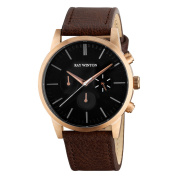 Ray Winton Men's WI1204 Chronograph Black Dial Genuine Brown Leather Watch