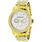 Luxurman Men's Yellow Goldtone Diamond Watch Metal Band plus Extra Leather Straps