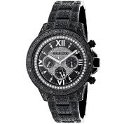 Luxurman Men's Black Stainless Steel and Black Diamond Quartz Watch Metal Band plus Extra Leather St